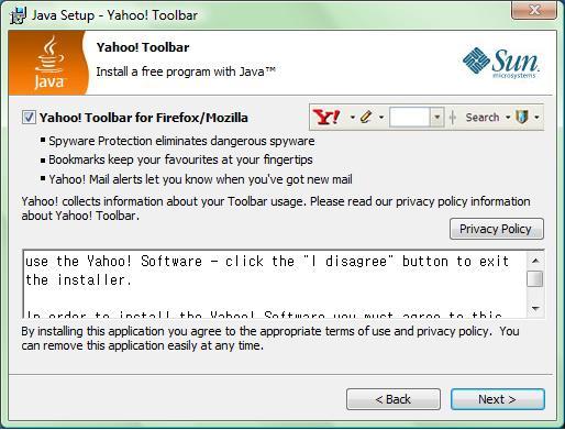 Java installs Yahoo toolbar